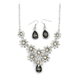 silver flower black crystal necklace earrings set